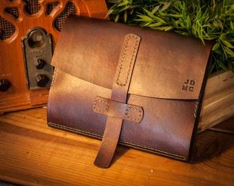 Dark Brown Leather iPad Portfolio iPad Case - Handmade, Handstitched, Leather