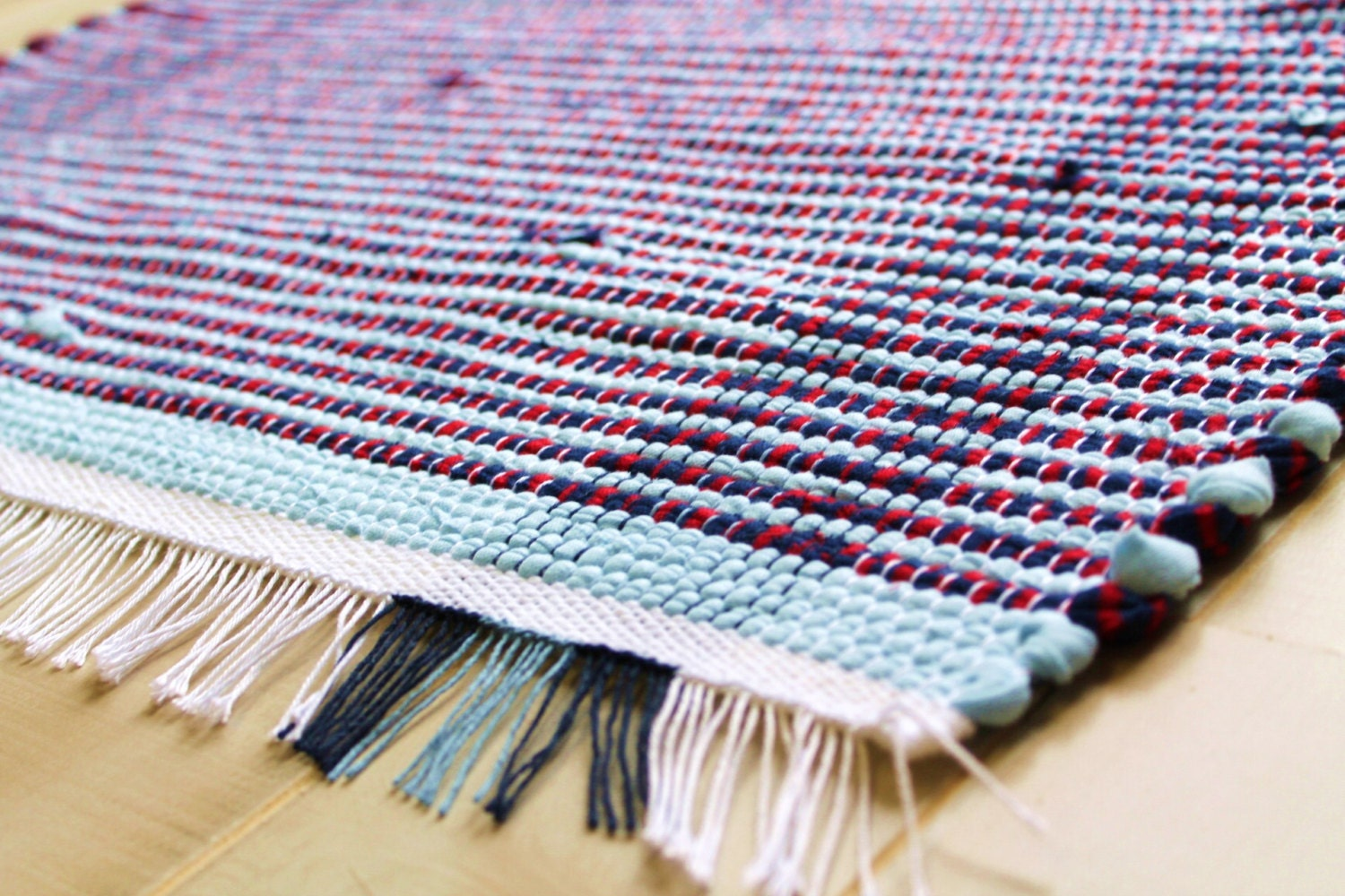 Loom Woven Rag Rug 25 5 X 43 Blue Amp Red Recycled Fabric