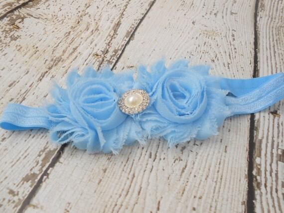 Blue  Shabby  flower Baby Headband, Newborn Headband,  Infant Headband,Baby Headband, Headband Baby, White Baby Headband