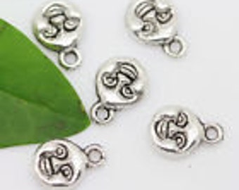 Sale....tibetan moon face  charms silver 3D 11x7mm 10 pcs