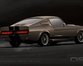 Gone in 60 Seconds 1967 Ford Mustang Shelby GT500 Eleanor Digital Rendering Art Print, Signed