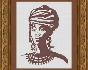 AFRICAN WOMAN/ africaine -Counted cross stitch pattern /grille point de croix  ,Cross Stitch PDF, Instant download , free shipping