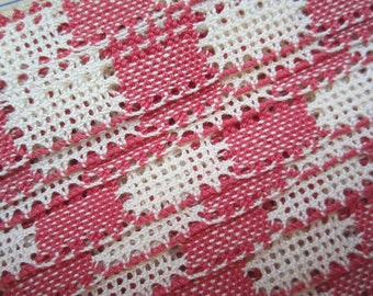 Trim 1 Yard Vintage Red/White Checked Cotton