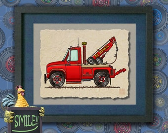 Kid Truck Art Cute wrecker Whimsical tow truck print adds to kids room transportation art as 8x10 or 13x19 work truck wall decor