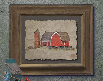 Nostalgic silo red barn art Rural art Cute yesteryear print adds rural landscape art to home wall decor as 8x10 or 13x19 country art