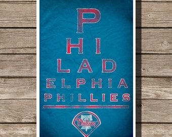 Philadelphia Phillies Poster Baseball Art Eyechart MLB Man Cave Sports Print (multiple sizes)