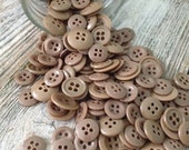 100 Vintage Brown Plastic Buttons Miscellaneous Sizes 4 hole, GREAT for Crafts!