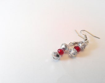 Clear/silver and red dangles.