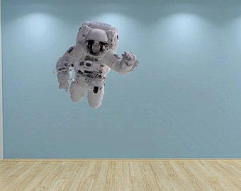 Full Colour Astronaut Wall Decal Floating Spaceman Wall Sticker Out Of Space Kids Bedroom