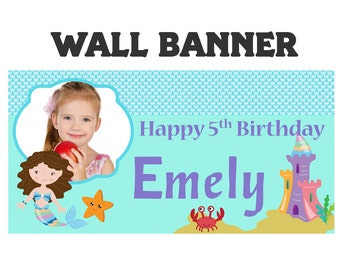 Under the Sea Mermaid Party Banner ~ Personalize Party Banners Indoor or Outdoor Photo Girls Birthday Banner