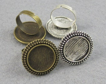 25 Pieces 16mm Antique Style Ring Setting, Beads-edged Round Ring Bezel Trays,  Adjustable Blank Ring Base