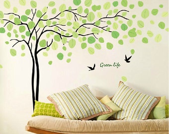 Tree wall sticker wall art, Baby Nursery decals, Green life tree wall decal , Nature tree decals wall decor, Tree and bids wall sticker15065