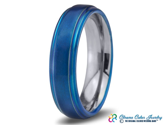 items similar to mens wedding band bluetungsten ring blue On mens colored wedding bands