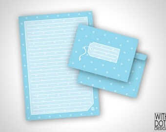 Beautiful Baby Blue Stationery with Polkadots and Envelope