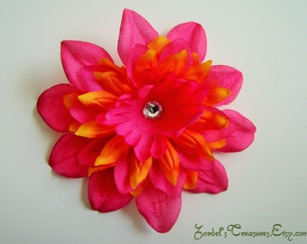 Pink and Orange Flower Hair Clip - One Size - #189