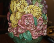 Hand Painted Vintage  Holland Ceramic Mold Flower Bouquet. Deep textures make this an outstanding center piece.