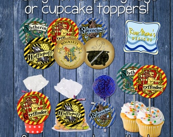 Printable Harry Potter Inspired Cupcake Toppers or 2 inch Circle Tags