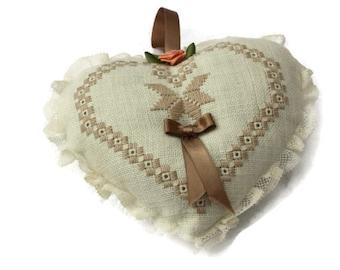 heart of embroidered linen sold hand door