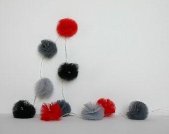 10 Led - Light string of pom-poms in red, grey and black tulle