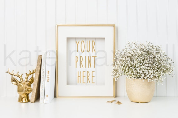 Gold Frame w/ Deer Bust Figurine, Gold Books, & Baby's Breath / Styled Stock Photography / Product Mockup / High Res File #409