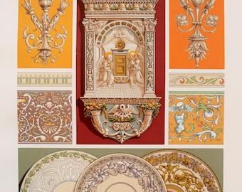 Renaissance Decorative Ornament (Scrolls & Enamelled Ceramics) - Chromolithograph Antique Print by Racinet.