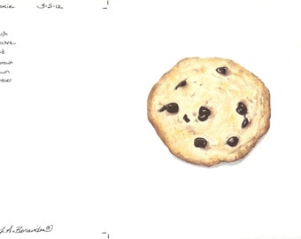 """Chocolate Chip Cookie, colored pencil print, 6 1/2"""" x 6 1/2"""", art, illustration, photo realistic, drawing, archival, food, dessert, snack,"""