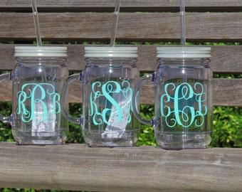 monogrammed cup, monogrammed mason, acrylic mason mug, bridal mason mug, bridesmaid mug, bachelorette party, plastic mason jar, holiday gift