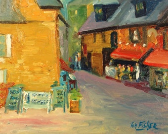 Original Oil Street Painting called Street Cafe dining street architectural landscape painting painting red yellow living room Tuscan