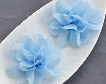 3 Light Baby Blue Chiffon Flower Soft Chiffon Fabric Silk Rose Flower FREE Shipping 20USD Bridal Wedding Garter Headband SF123