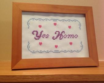 Yes Homo - framed cross stitch