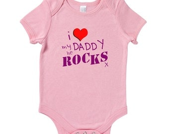 I Heart My Daddy He Rocks Baby Grow Humour Gift Present Baby Shower Birthday Dad Father's Day Present Baby Shower Gift