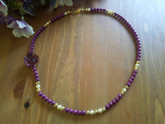 Stunning Purple, Gold and creme pearl necklace with real resin encased daisy focal - feel like a queen wearing this