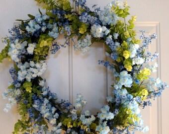 Summer Wreath, Blue Flowers Wreath, Wildflower Wreath, Door Wreath,Front Door Wreath, Wedding Decoration