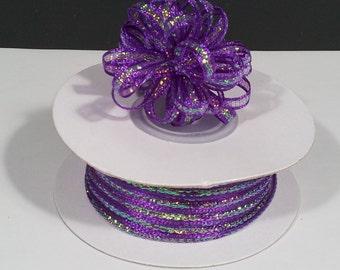 "1/8"" Purple Nylon Pull Bow Ribbon 50 yards"