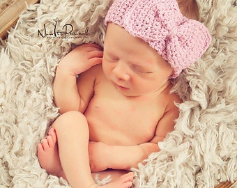 Hand Crochet Baby Hat Headband with Bow Photography Photo Prop Newborn- 6 Months Girls UK Seller Pin / Silver sparkle