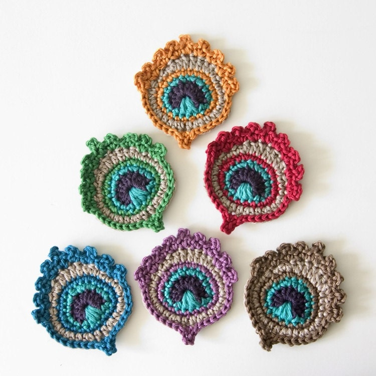 Crochet Pattern For Peacock Feather : Small Crochet Peacock Feather Applique / by TheCurioCraftsRoom