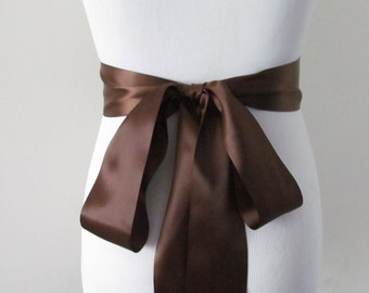 Chocolate Brown Ribbon Sash / Double Faced Ribbon Sash / Bridal Sash  / Bridal Ribbon / Chocolate