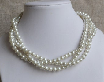 ivory pearl necklace,Triple strands pearl necklaces,,bridesmaids necklace, glass pearls necklaces,  pearl necklace,wedding necklace