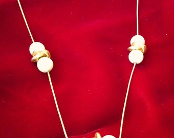 Vintage Matte Gold and Faux Pearl Bead Necklace