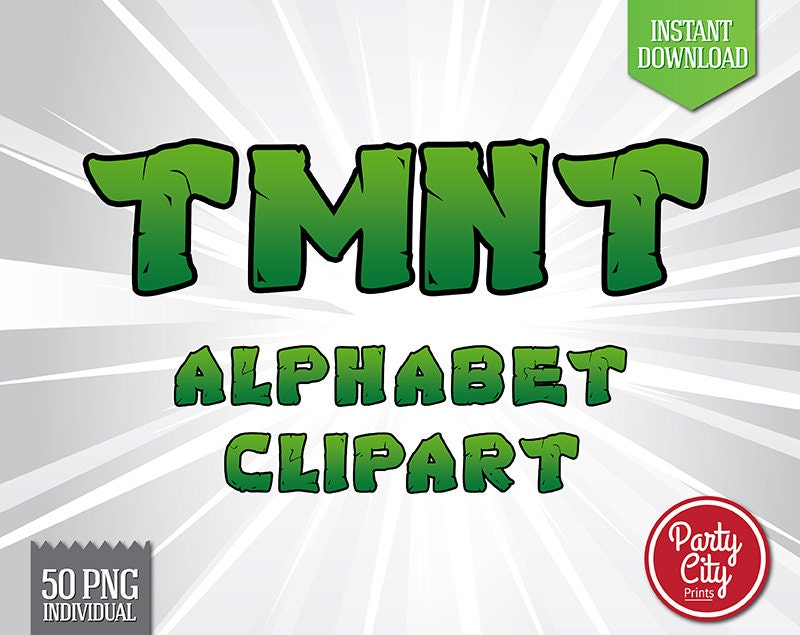 TMNT Inspired Alphabet Clipart Printable by Partycityprints