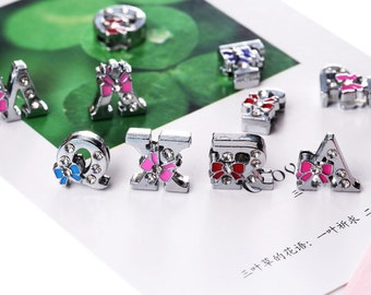 10pcs 8MM Rhinestone Slide Letter Charms Bowknot Alphabet Capital Letters lider Spacer Beads Pendant Fit Wristband Collars You Choose Letter