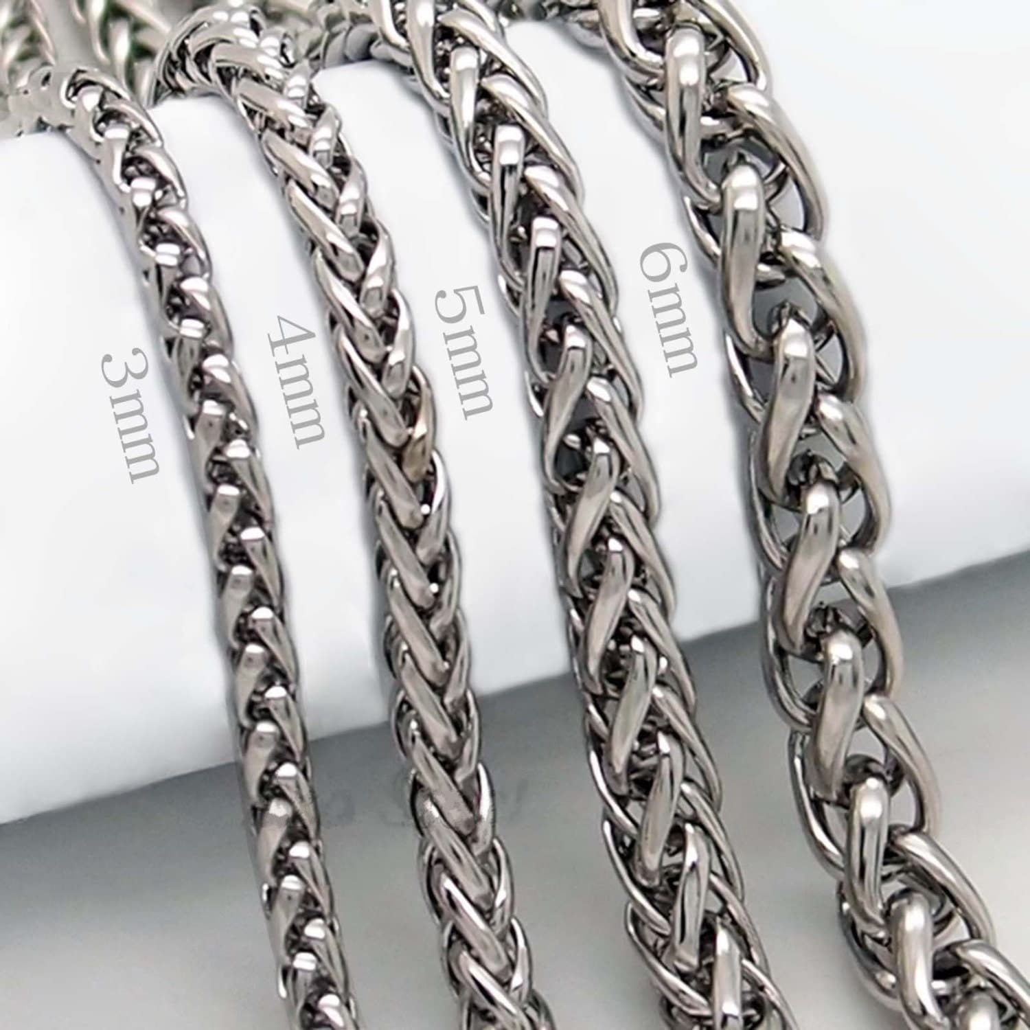3 4 5 6 7 8mm 18 36 mens silver stainless steel wheat for Do pawn shops buy stainless steel jewelry