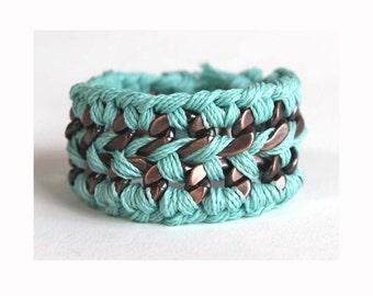 Cuff Bracelet/ Chain and Thread Bracelet/ Braided Chain Bracelet/ Cuff Bracelet/ Turquoise Bracelet/ Turquoise Cuff Bracelet/ Cuff/ Boho