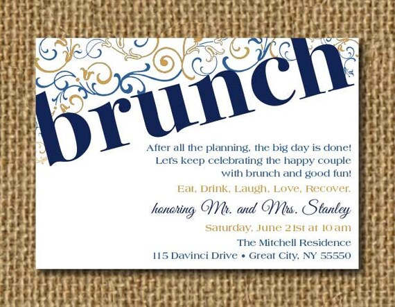 Post Wedding Invite Post Wedding Brunch By LiviDoodleDesigns