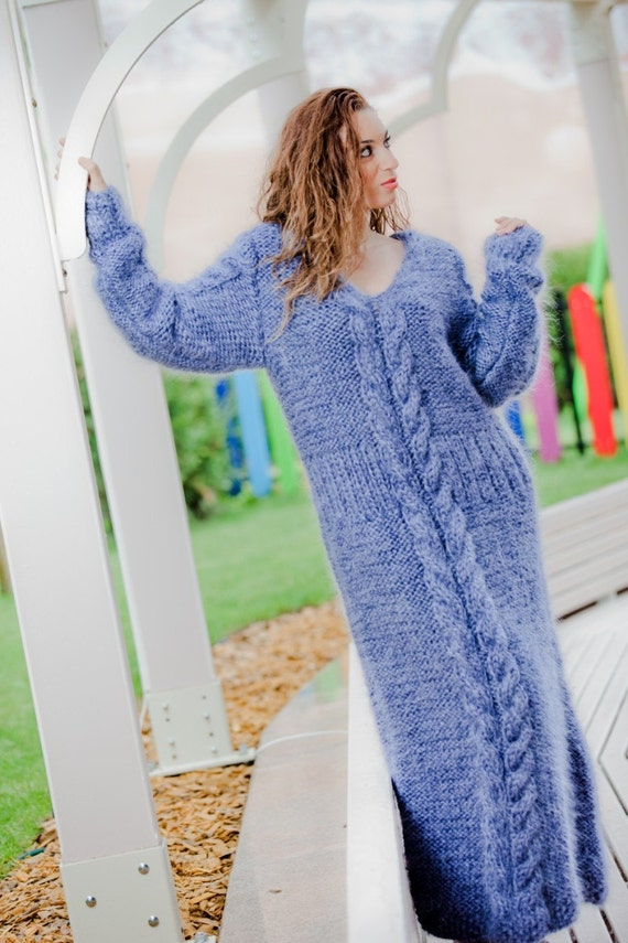 Mohair Dress Knitting Pattern : Items similar to Tiffy Mohair Hand Knitted T- neck Sweater Dress Fuzzy Fluffy...