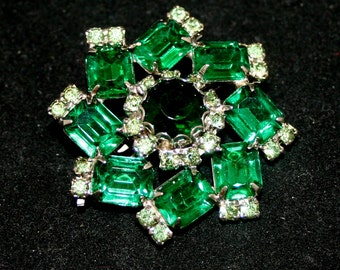 Vintage Brooch, Emerald and Diamond Brooch, Jewelry, Costume Jewelry,  Vintage Jewelry, 1950's Brooch
