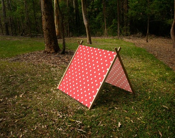 Collapsible A Frame Play Tent made from solid wood and Fabric