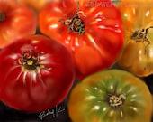 Heirloom Tomatoes-  Original Digital Artwork on Gallery-Wrapped Canvas by K. Schowe