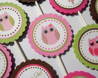Vintage Owl Cupcake Toppers - Set of 12 Personalized Birthday Party Decorations - 1st Birthday