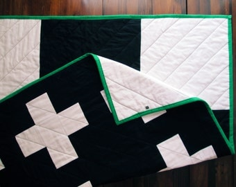 The New Addition Quilt | Black and White Modern Plus Sign Quilt